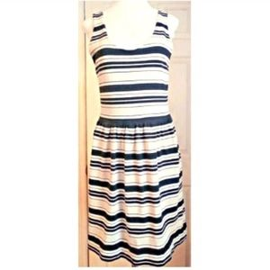J Crew Black Off White Striped Dress Medium Preppy